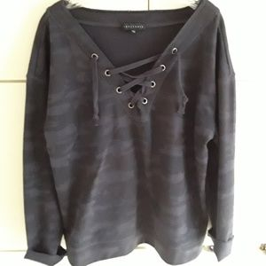 Sanctuary blue and black top long sleeve